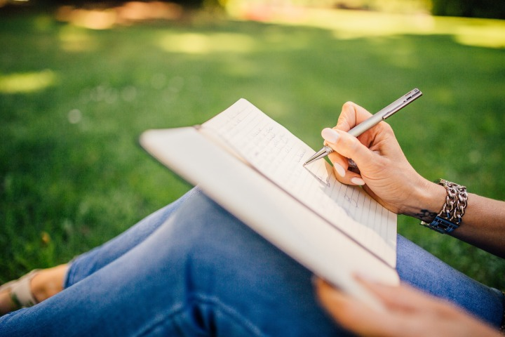 Writing In Journal In Park